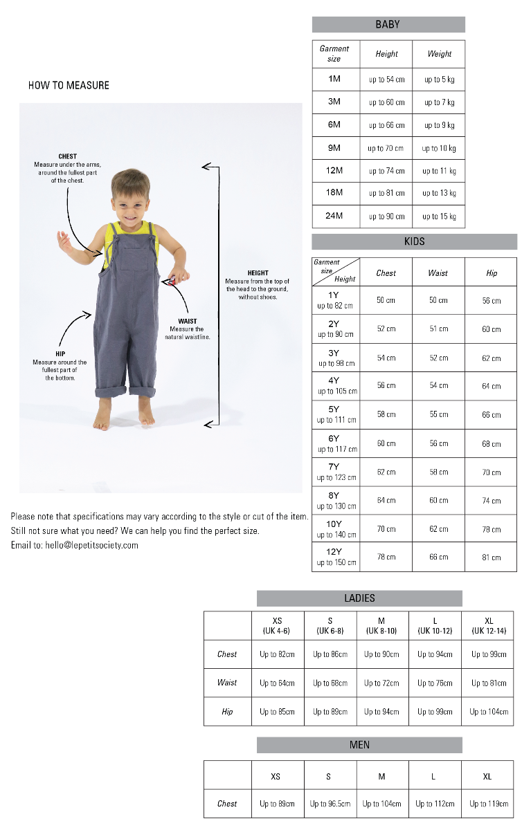 133f56cbc Size Guide for Babies   Kids. Kids   Baby Clothes Asia. From Party ...
