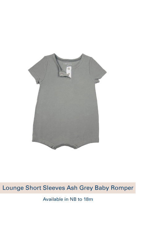 Shop Lounge Short Sleeves Ash Grey Baby Romper