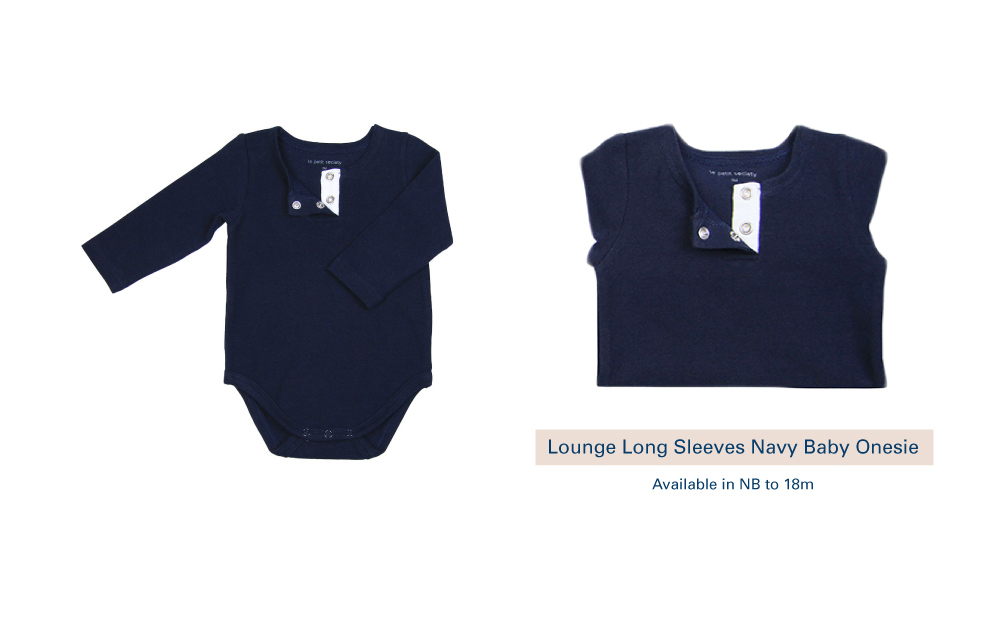 Shop Lounge Long Sleeves Navy Baby Onesie