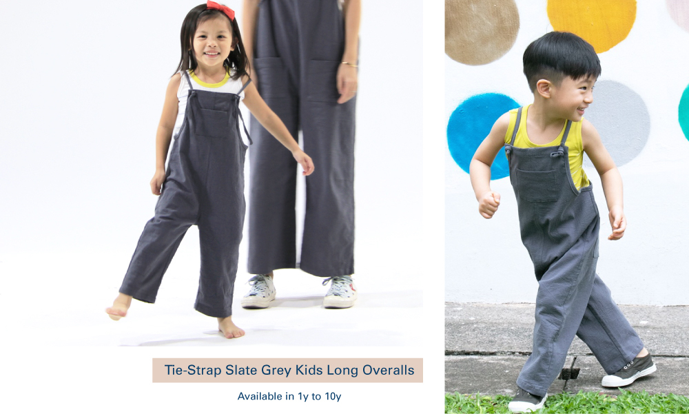 Shop Tie-Strap Slate Grey Kids Long Overalls